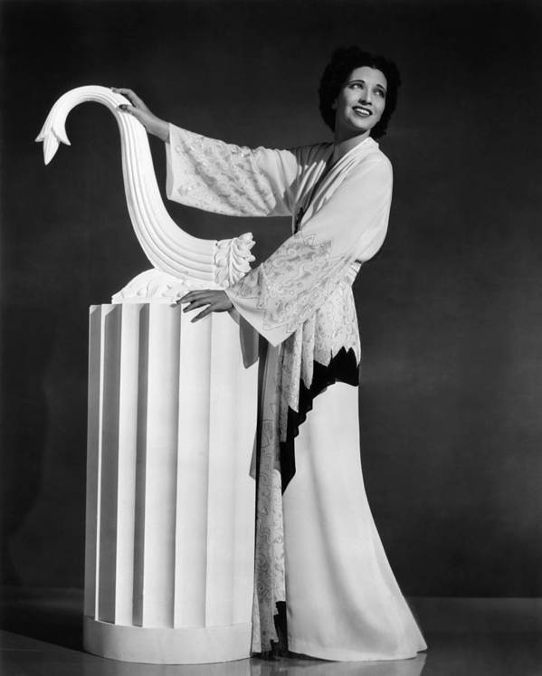 1930s Fashion Poster featuring the photograph Kay Francis Modeling White-crepe by Everett