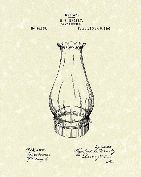 Lamp Poster featuring the drawing Lamp Chimney 1895 Patent Art by Prior Art Design