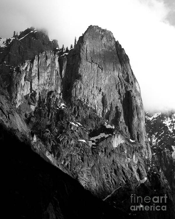 Black And White Poster featuring the photograph Mountains Of Yosemite . 7d6167 . Vertical Cut . Black And White by Wingsdomain Art and Photography