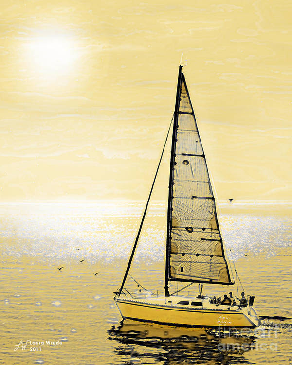 Sailing Poster featuring the painting New Dawn by Artist and Photographer Laura Wrede