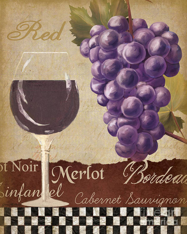 Wine Poster featuring the painting Red Wine Collage by Grace Pullen