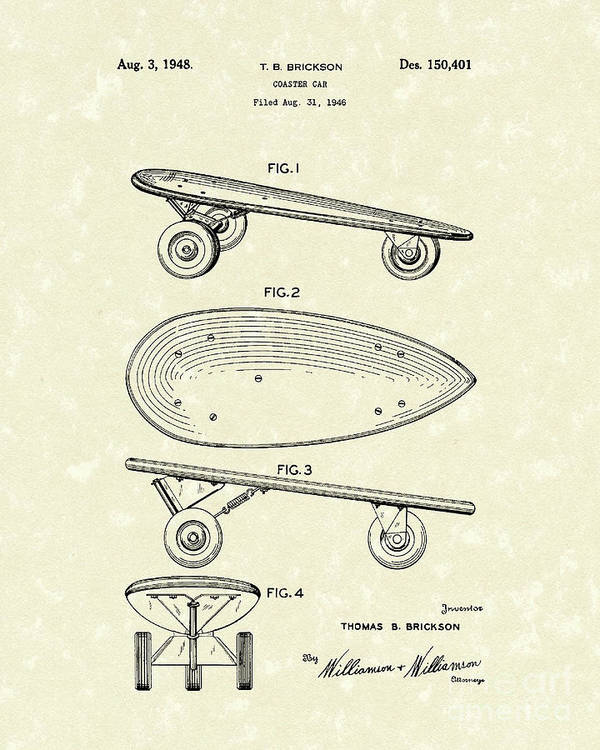 Skateboard Poster featuring the drawing Skateboard Coaster Car 1948 Patent Art by Prior Art Design