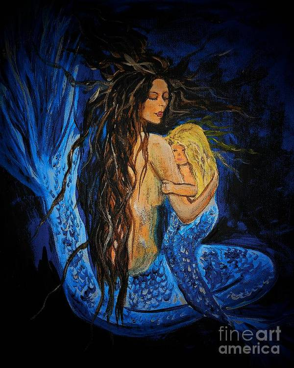 Mermaid Poster featuring the painting The Deepest Love Series 3 by Leslie Allen