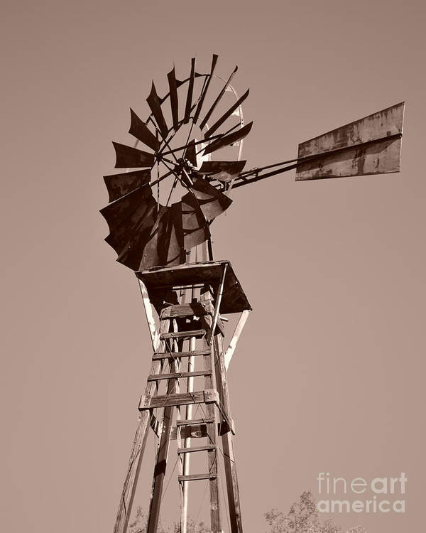 Windmill Poster featuring the photograph Windmill Sepia by Rebecca Margraf