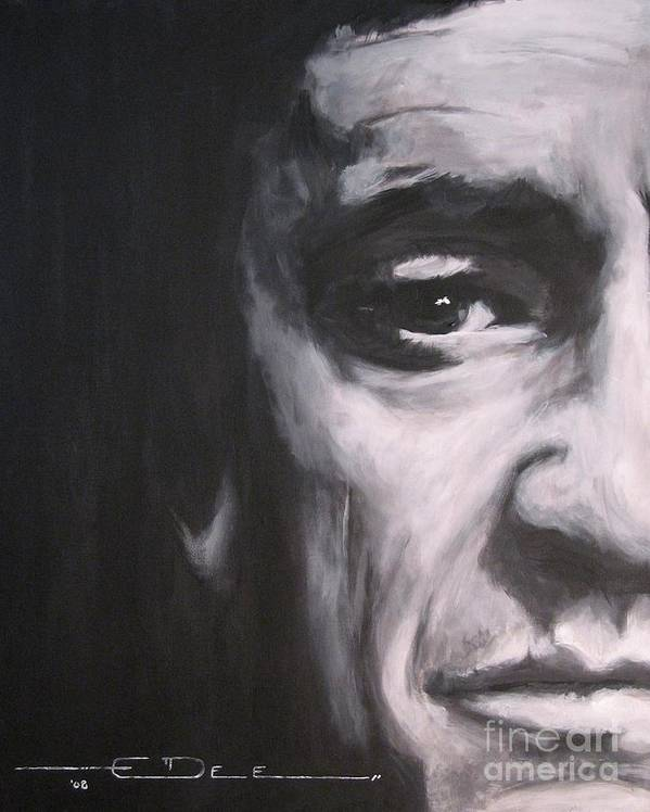 Johnny Cash Poster featuring the painting Johnny Cash 2 by Eric Dee