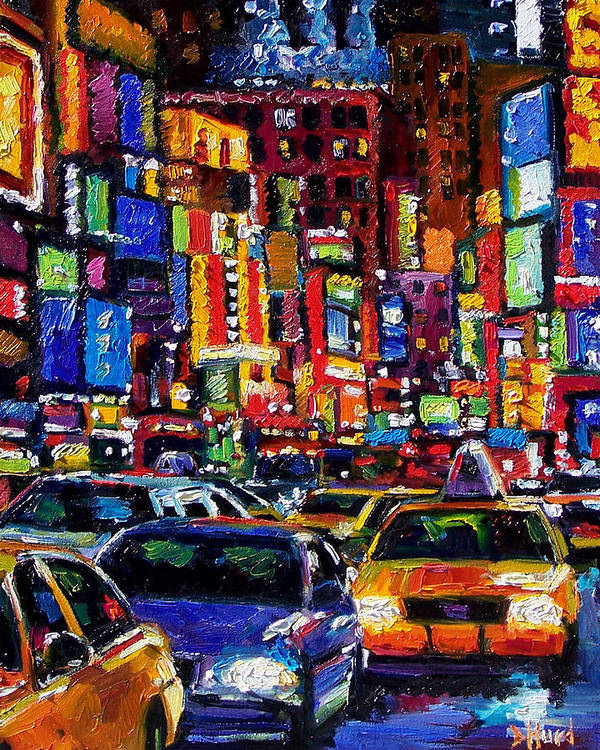 New York City Poster featuring the painting New York City by Debra Hurd
