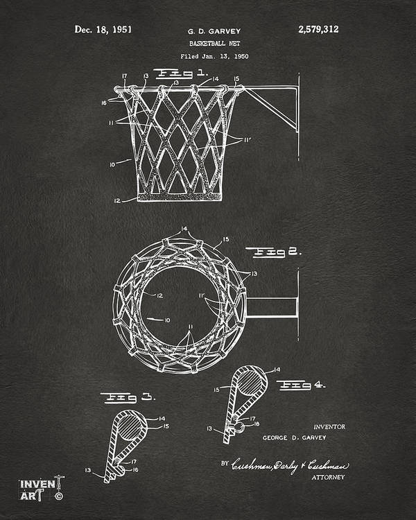 Basketball Poster featuring the drawing 1951 Basketball Net Patent Artwork - Gray by Nikki Marie Smith