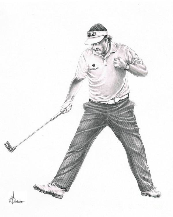 Pencil Poster featuring the drawing Phil Mickelson by Murphy Elliott