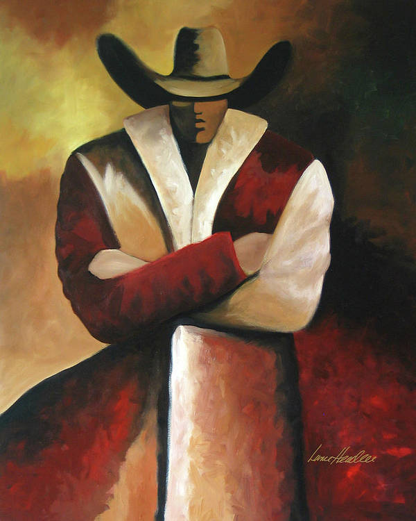 Poster featuring the painting Abstract Cowboy by Lance Headlee