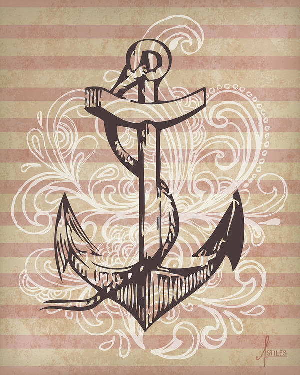 Tattoo Poster featuring the mixed media Anchor by Adrienne Stiles