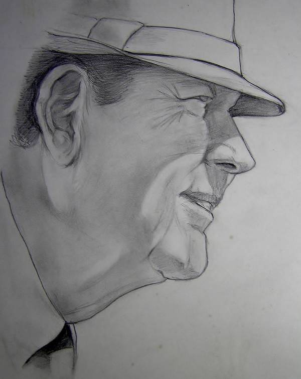 Football Poster featuring the drawing Bear Bryant by Nigel Wynter