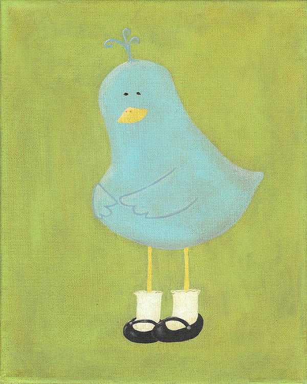 Bluebird Poster featuring the painting Bitty Bird's New Shoes Nursery Art by Katie Carlsruh