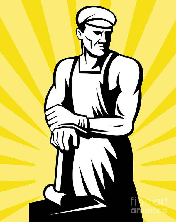 Blacksmith Poster featuring the digital art Blacksmith Posing by Aloysius Patrimonio