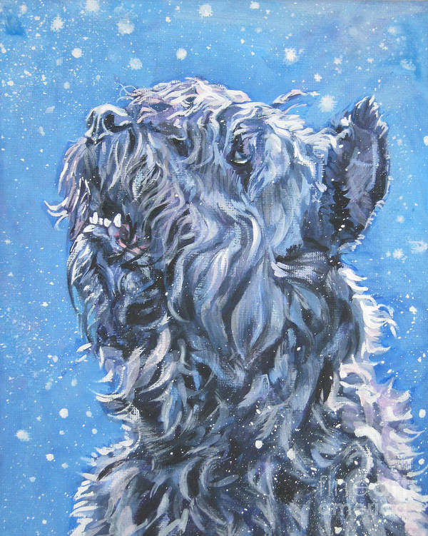 Bouvier Des Flandres Poster featuring the painting Bouvier Des Flandres Snow by Lee Ann Shepard