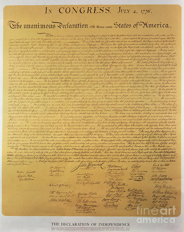 Declaration Poster featuring the painting Declaration Of Independence by American School