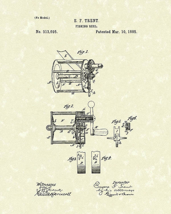 Fishing Poster featuring the drawing Fishing Reel 1885 Patent Art by Prior Art Design