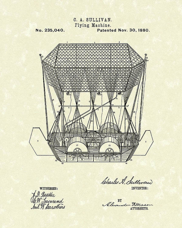 Sullivan Poster featuring the drawing Flying Machine 1880 Patent Art by Prior Art Design