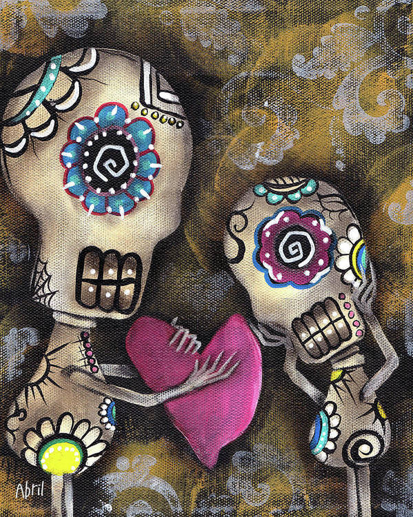 Day Of The Dead Poster featuring the painting For You by Abril Andrade Griffith