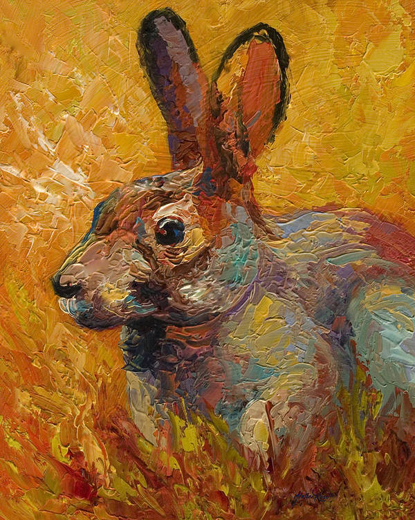 Rabbit Poster featuring the painting Forest Rabbit IIi by Marion Rose