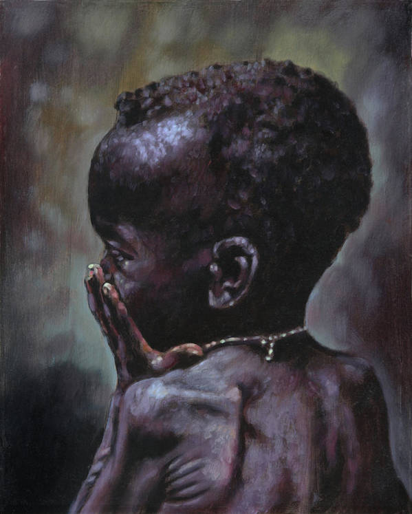 Starving Child Poster featuring the painting Forsaken by John Lautermilch