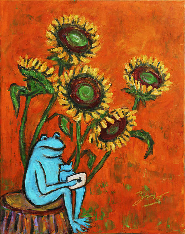 Still Life Poster featuring the painting Frog I Padding Amongst Sunflowers by Xueling Zou