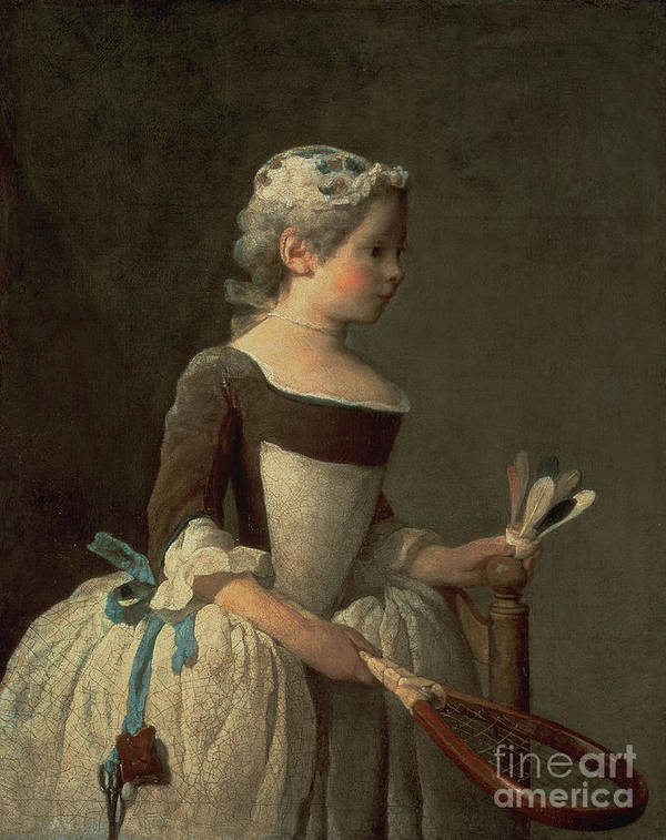 Poster featuring the painting Girl With Racket And Shuttlecock by Jean-Baptiste Simeon Chardin