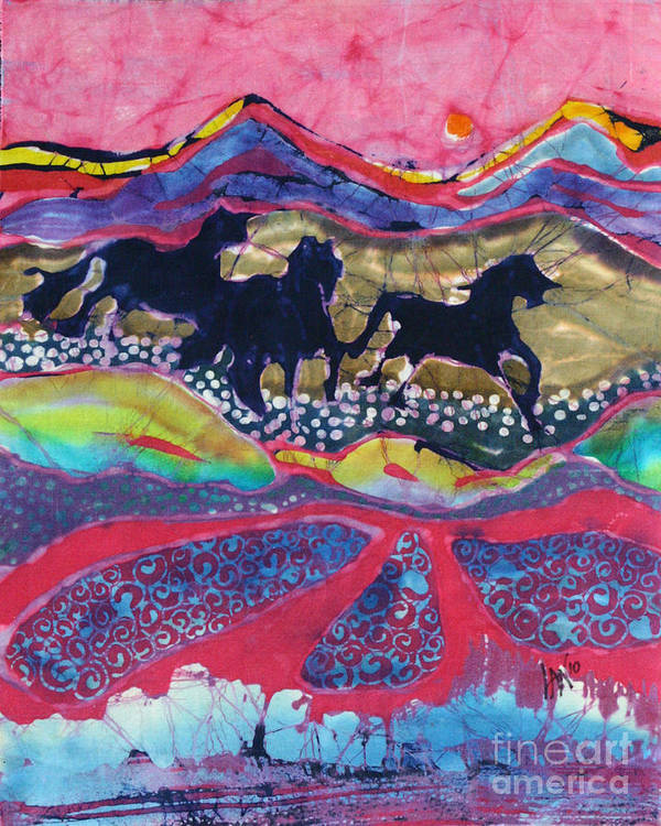 Batik Poster featuring the tapestry - textile Horses Running Thru A Stream by Carol Law Conklin