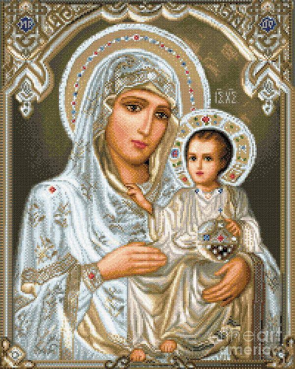 Jerusalem Theotokos Orthodox Icon Religious Gobelin Needlework Jesus Maria Holy Mother Poster featuring the tapestry - textile Jerusalem Theotokos by Stoyanka Ivanova