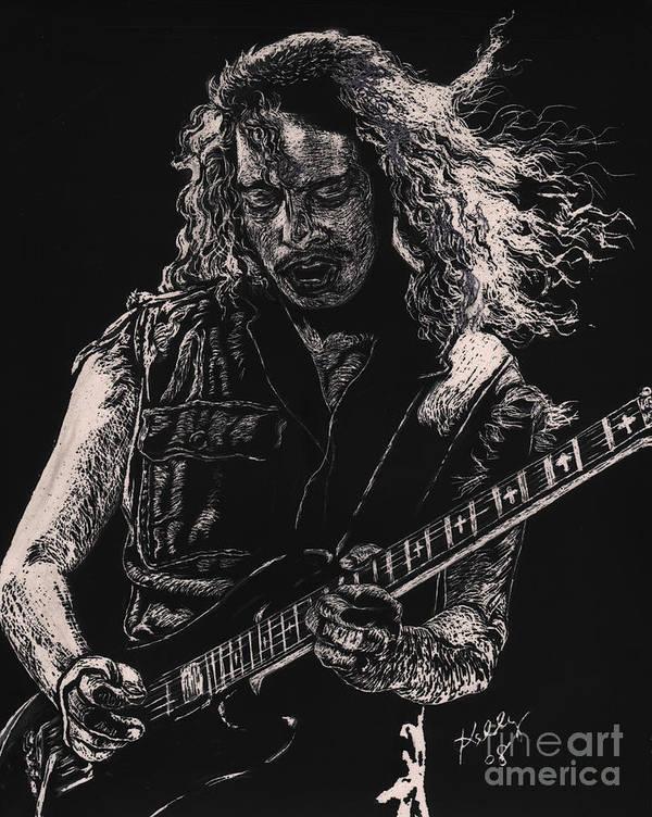 Kirk Hammett Poster Poster featuring the drawing Kirk Hammett by Kathleen Kelly Thompson