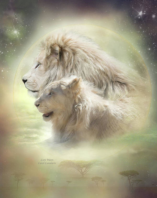 Lion Art Poster featuring the mixed media Lion Moon by Carol Cavalaris