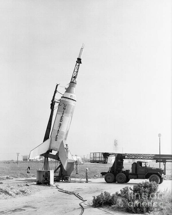 Mercury Poster featuring the photograph Little Joe On Launcher At Wallops by Stocktrek Images