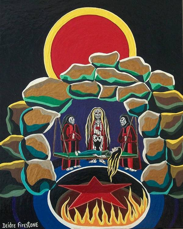 Pentagram Art Poster featuring the painting Lost Souls Outside The Spiritual Blood Of The Covenant by Deidre Firestone