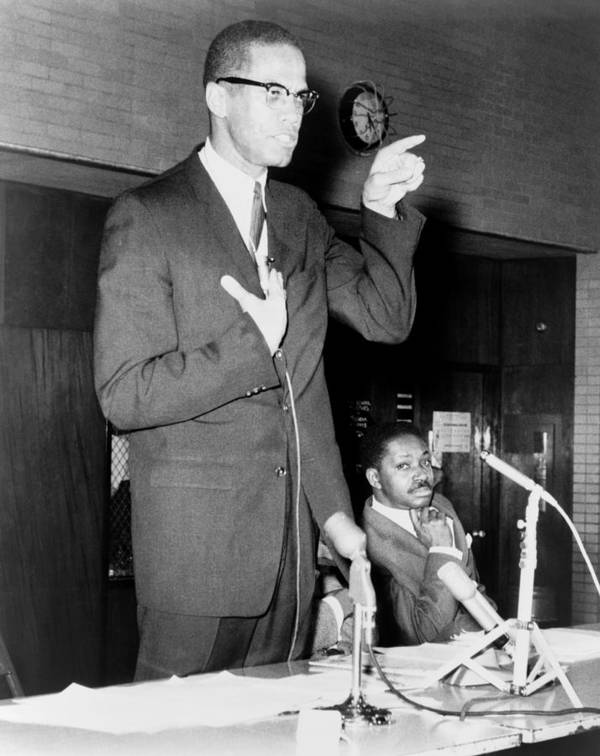 History Poster featuring the photograph Malcolm X Speaks In Support by Everett