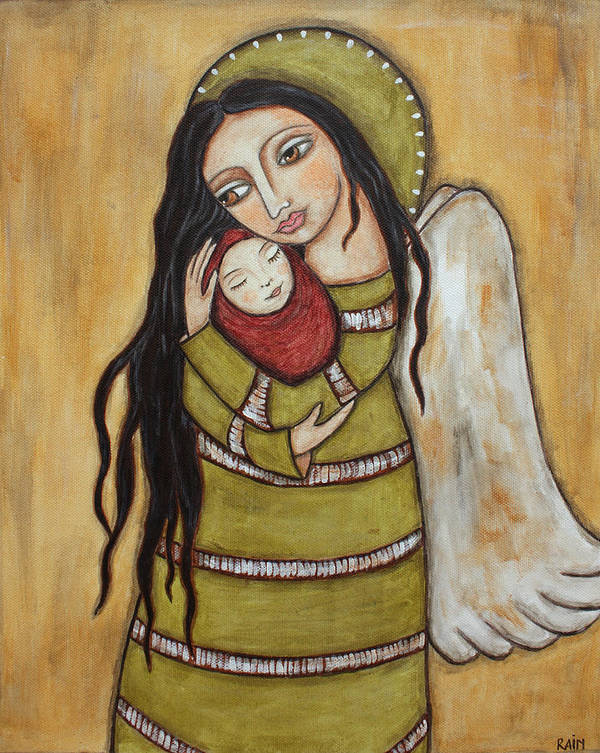 Olk Art Paintings Poster featuring the painting Mother And Child by Rain Ririn