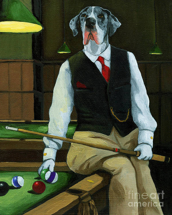 Great Dane Poster featuring the painting Mr. Thomas Tudor - Great Dane Portrait by Linda Apple