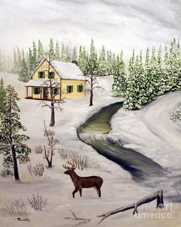 Winter Poster featuring the painting Peaceful Winter Day by Timothy Smith