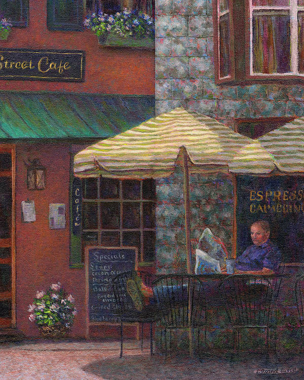 Man Poster featuring the painting Relaxing At The Cafe by Susan Savad