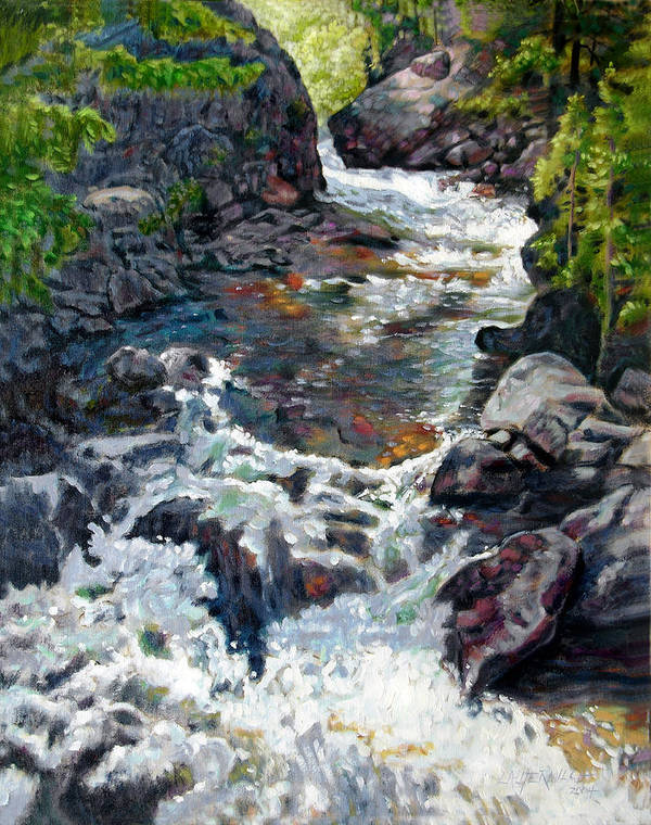 A Fast Moving Stream In Colorado Rocky Mountains Poster featuring the painting Rushing Waters by John Lautermilch