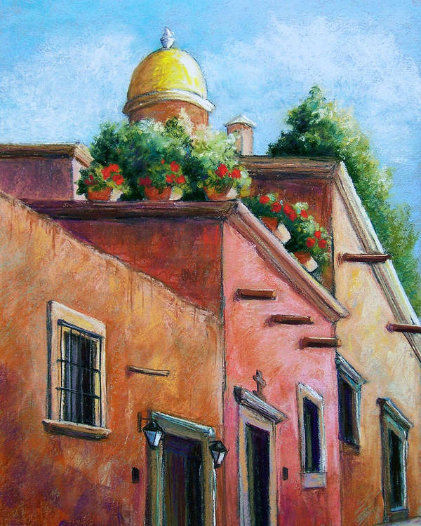 Landscape Poster featuring the pastel San Miguel De Allende by Candy Mayer