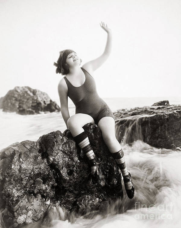 -bathing: Women's Suit & Pool- Poster featuring the photograph Silent Still: Bather by Granger