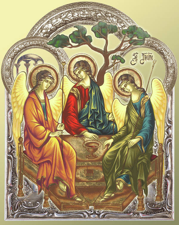Icon Byzantine Religious Art Gold Leaf Traditional Orthodox Christian Eastern European Burn Wood Decoration Gift Poster featuring the painting Trinity After Rubliov by Iosif Ioan Chezan