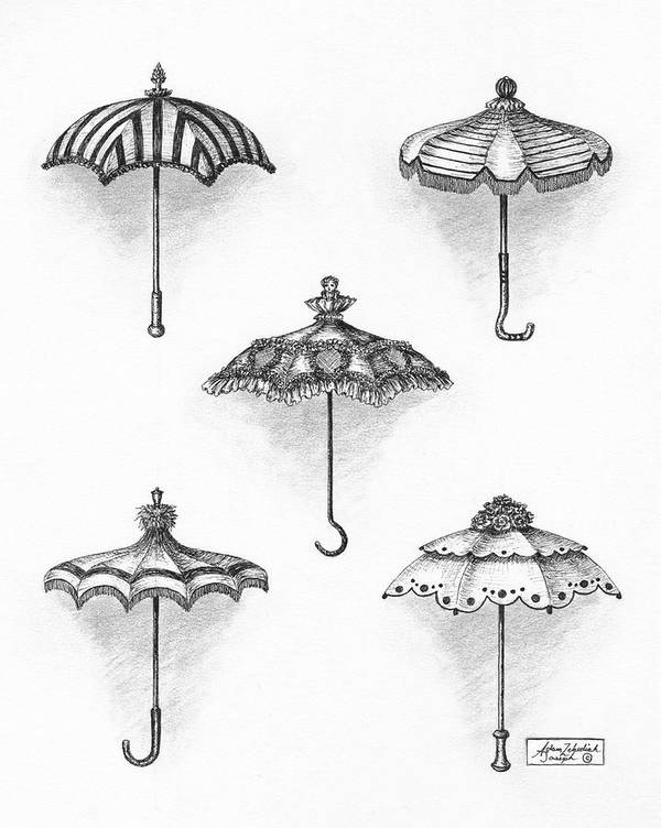 Black Poster featuring the drawing Victorian Parasols by Adam Zebediah Joseph