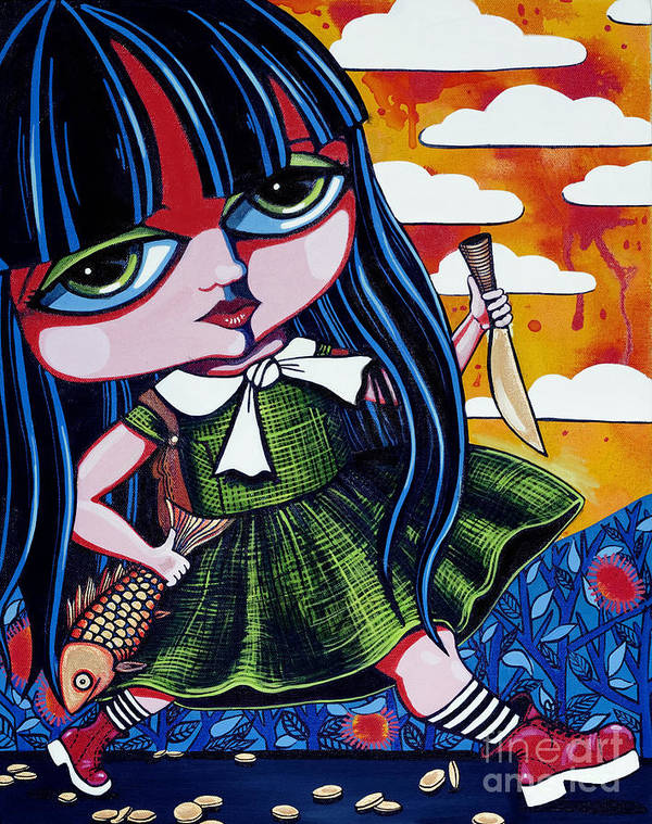 Girl Paintings Poster featuring the painting With Fish And Gold Coin by Leanne Wilkes