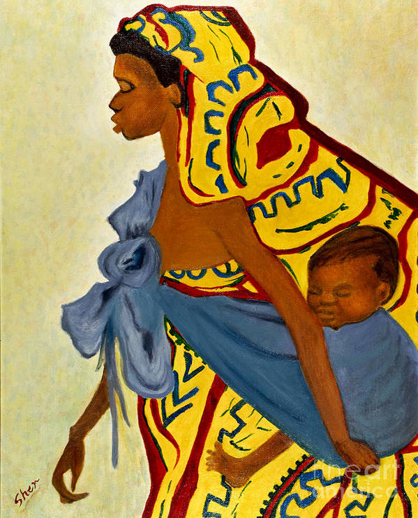 African Mother Poster featuring the painting African Mother And Child by Sher Nasser