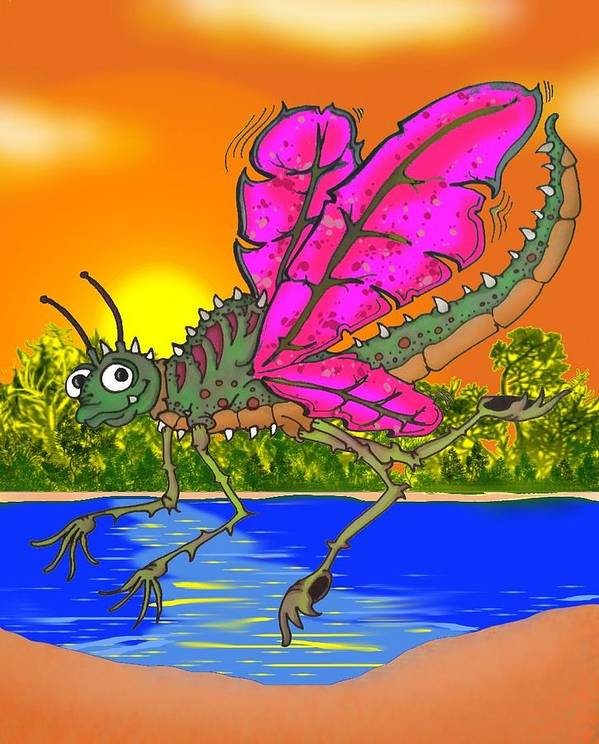 Dragonfly Poster featuring the drawing Dameon The Dragonfly by Paul Calabrese