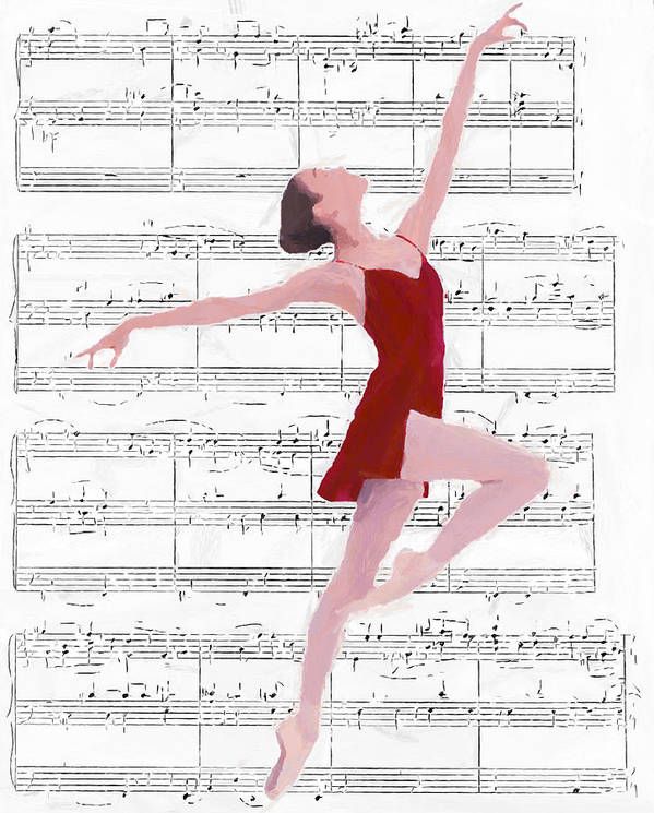 Ballet Dancer Dancing Melody Music Female Woman Girl Romance Romantic Ballerina Poster featuring the painting Dance To The Music by Steve K