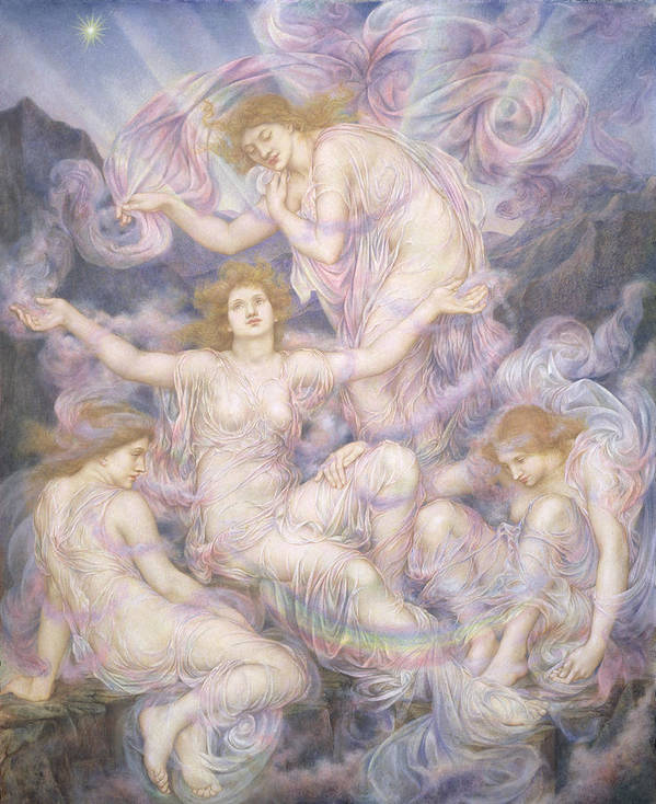 William Poster featuring the painting Daughters Of The Mist by Evelyn De Morgan