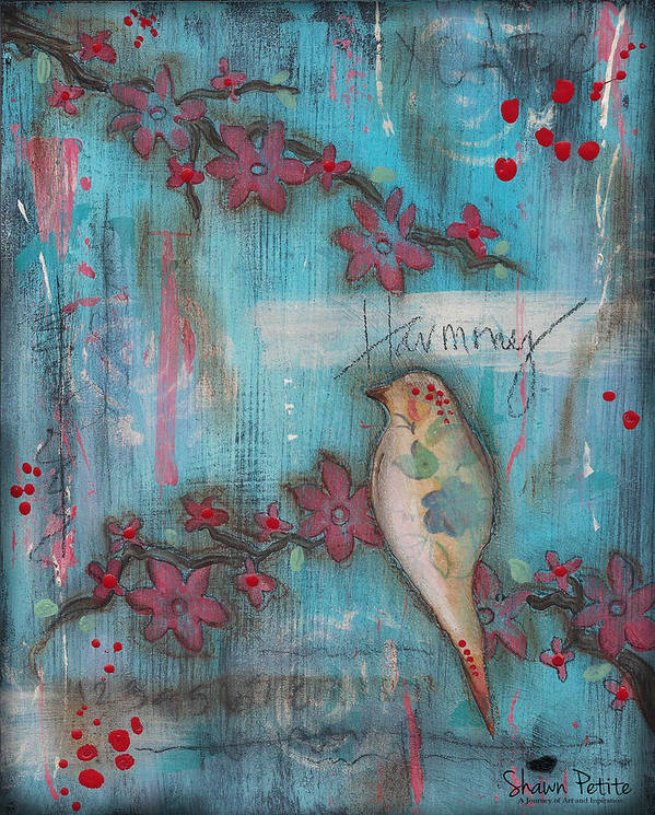 Bird Poster featuring the mixed media Harmony by Shawn Petite