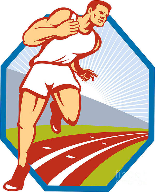 Marathon Poster featuring the digital art Marathon Runner Running Race Track Retro by Aloysius Patrimonio