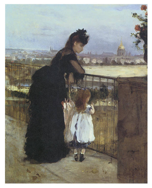 Berthe Morisot Poster featuring the painting On The Balcony by Berthe Morisot